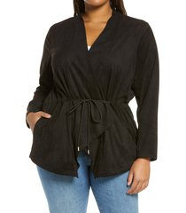 plus size women's blanknyc faux suede drapey jacket, size 3x - black
