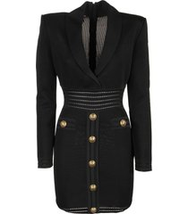 balmain black viscose dress with dark buttons