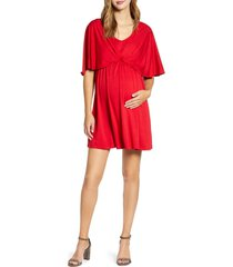 women's maternal america cape sleeve maternity dress, size large - red