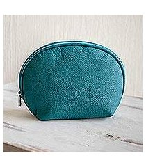 leather cosmetics case, 'luxe life in teal' (el salvador)