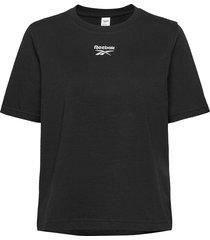 cl f small logo tee t-shirts & tops short-sleeved svart reebok classics