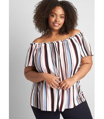 lane bryant women's striped off-the-shoulder subtle swing top 34/36 multi vertical stripe