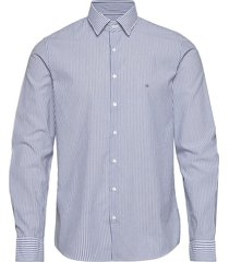 washed stripe slim shirt overhemd business blauw calvin klein