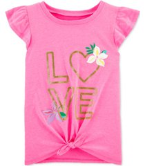 carter's little & big girls love-print tie-front cotton t-shirt