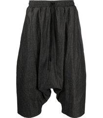 alchemy drawstring-waist drop-crotch shorts - black