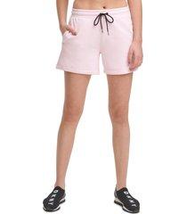 women's dkny sport logo tab shorts, size small - pink