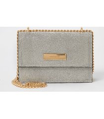 river island womens silver diamante mini crossbody bag
