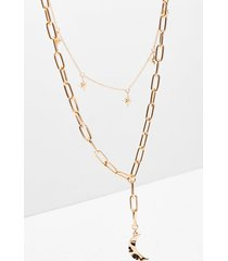 womens a little moonlight chain layered necklace - gold