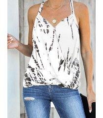 camiseta cruzada sin mangas con cuello en v y cuello en v blanca con efecto tie dye yoins