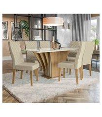 sala de jantar bardana kappesberg a019 mesa com 6 cadeiras freijó/linho