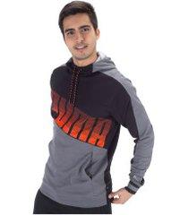 blusão com capuz puma collective hoodie - masculino - cinza escuro/preto
