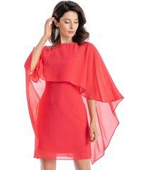 vestido capa coral nicopoly