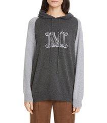 women's max mara liegi colorblock cogo cashmere hoodie, size large - grey