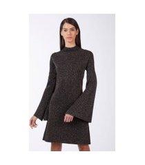 vestido de tricot lurex manga ampla preto