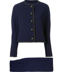 chanel pre-owned braided trim skirt suit - blue