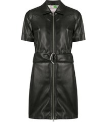 urbancode belted faux-leather dress - black