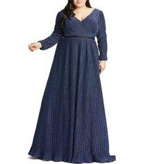 plus size women's mac duggal empire waist long sleeve gown, size 22w - black