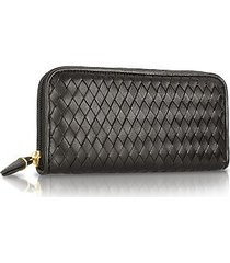 fontanelli designer wallets, women's black italian woven leather concertina zip wallet