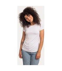 camiseta decote redondo em modal branca branco