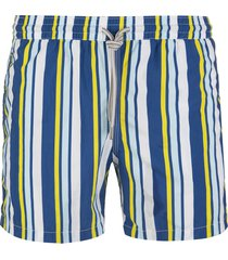 capri code white swimsuit with yellow and blue stripes