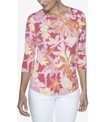 ruby rd. women's plus size knit floral puff top