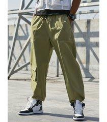 koyye hombre liso multibolsillos ajuste holgado casual utility pantalones