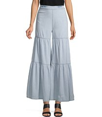 tiered chambray wide-leg pants