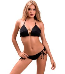 top alto golden jessie de la rosa lingerie para mujer - negro