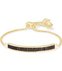 kendra scott 14k gold-plated multicolor baguette-cut nano gem slider bracelet