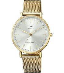 reloj q&q qa20j001y para caballero en acero inoxidable dorado