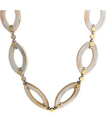 18k yellow gold & sterling silver buffalo horn link necklace
