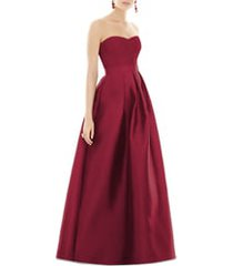 women's alfred sung strapless satin twill a-line gown, size 2 - burgundy