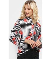 camisa listrada sofia fashion floral feminina