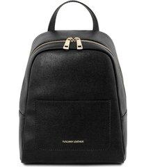 tuscany leather tl141701 tl bag - zaino piccolo in pelle saffiano da donna nero