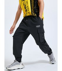 atado a la moda para hombre diseño dobladillo cónico informal carga pantalones