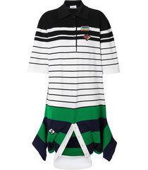 burberry logo graphic wool reconstructed polo shirt dress - white