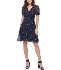 dkny embroidered puff-sleeve dress
