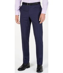 dkny men's modern-fit indigo plaid suit pants