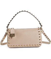 valentino garavani mini rockstud leather shoulder bag - beige