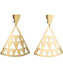 natori gold platedss cut out clip earrings, women's natori