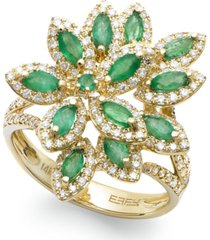 brasilica by effy emerald (1-1/16 ct. t.w.) and diamond (5/8 ct. t.w.) flower ring in 14k gold