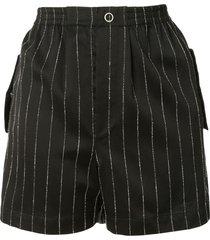dion lee chalk stripe shorts - black