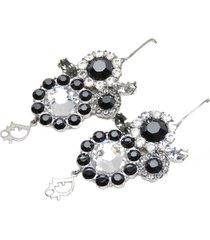 christian dior logo rhinestone hook earrings black, silver sz: