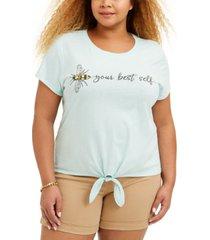 love tribe trendy plus size bee-print t-shirt