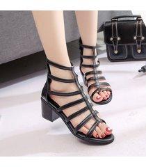 peep toe chunky apiladas sandalias de tacón alto de las mujeres sandalias