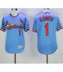 men's st. louis cardinals #1 ozzie smith blue pullover baseball jersey stitched