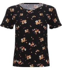 camiseta arandela flores color negro, talla 12