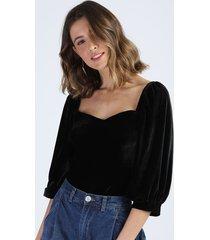 blusa de veludo feminina manga bufante decote reto preta
