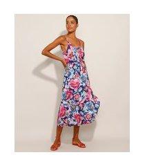 vestido saída de praia midi envelope estampado floral decote redondo alça fina azul marinho