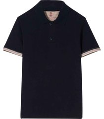 brunello cucinelli blue polo shirt with classic collar